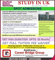 Spot admissions by Sheffield Hallam University at career bridge group
